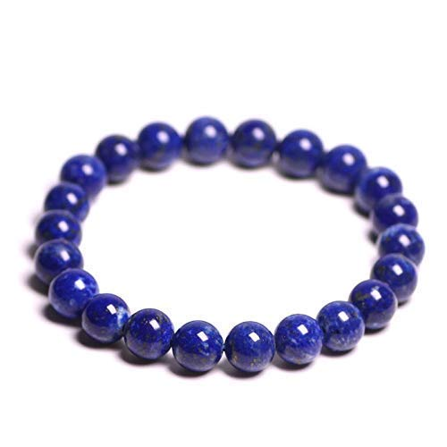 Gemstone Bracelet Handmade Lapis Lazuli Bracelet 8mm Bead Stretch Bracelet Friendship Bracelet Blue Stone Focus Bracelet
