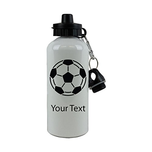Personalized Custom Soccer Ball Aluminum White Finish 20-Ounce 600ML Sport Water Bottle, 2 Lids, Customizable (Black) ()