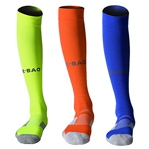 - Uniprime Mens Womens Long Sports Socks Athletic Compression Sock for Soccer Running Baseball Hockey Yoga - Knee High (Fluorescent Green/Orange/Blue)