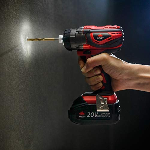 NoCry 20V Cordless Impact Driver Kit - 120 ft-lb (160 N.m) Torque, 3000 Max RPM/IPM, 1/4 inch Hex Chuck, LED Work Light, Belt Clip; 3.0 Ah Battery, Fast Charger & Carrying Case Included by NoCry (Image #2)