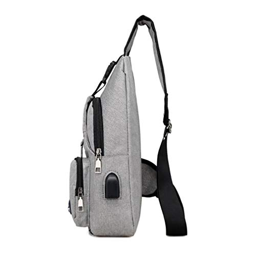 Pack Handbag Canvas Men Cross Black Charging Chest Shoulder Chestbags Bag Travel Body For Casual Bags Male Crossbody Usb twEvdvq