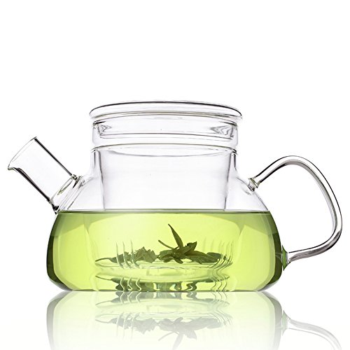 One Glass Teapot - TAMUME 600ML Nordic Style 3-in-1 Glass Teapot with Removable Glass Infuser with Large Spout Non-Drip Fuss-free Pouring (600ml Glass)