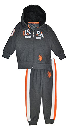 US Polo Assn Little Boys Charcoal & Orange 2pc Sweat Pant Set (5/6)