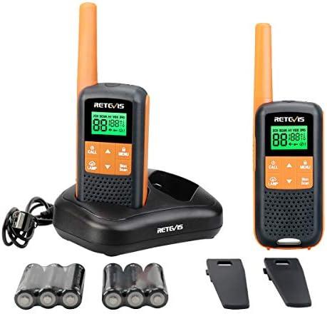 Retevis RT49 Walkie Talkies Rechargeable Long Range NOAA FRS Radios 22 Channels Scan Hands Free Waterproof 2 Way Radios with LED Flashlight 2 Packs