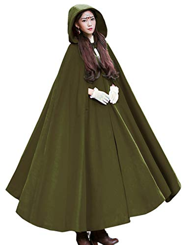 Women's Wool Hooded Cape Solid Color Maxi Cloak Trench Coat (Army Green, One Size)]()
