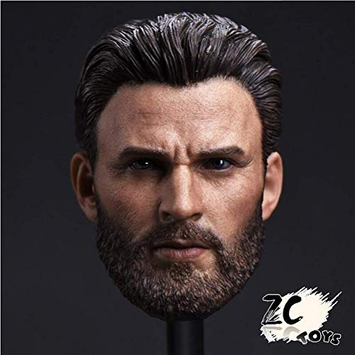 - CN ZCTOYS 1/6 Captain America Head Carved Beard Chris Evans F 12'' HT Figure Action Figure Accessories Action Figures 12 inch