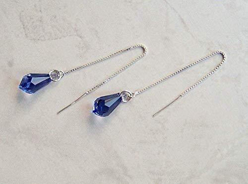 (Blue Purple Simulated Tanzanite Pencil Briolette Crystal Ear Thread Earrings December Birthstone Gift Idea ST)