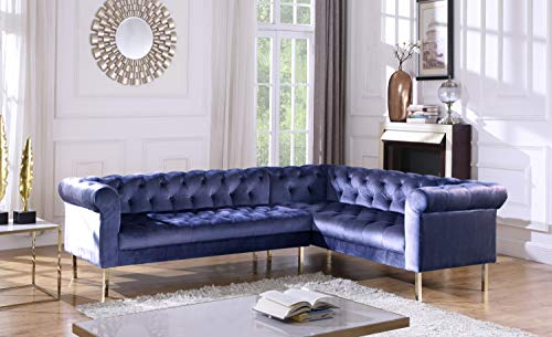 (Iconic Home FSA9212-AN Giovanni Right Facing Sectional Sofa L Shape Velvet Upholstered Button Tufted Roll Arm Design Solid Gold Tone Metal Legs Modern Transitional Navy)