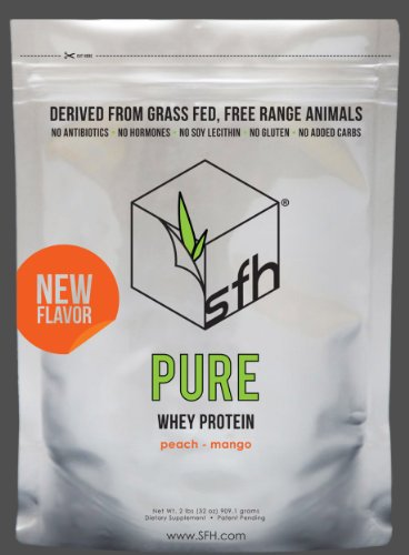 PURE Whey Protein Powder by SFH | Best Tasting 100% Grass Fed Whey | All Natural | 100% Non GMO, No Artificials, Soy Free, Gluten Free