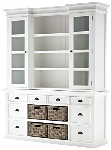 Library Hutch (NovaSolo Halifax Pure White Mahogany Wood Hutch Cabinet With Glass Doors, Shelves, 8 Drawers And 4 Rattan Baskets)