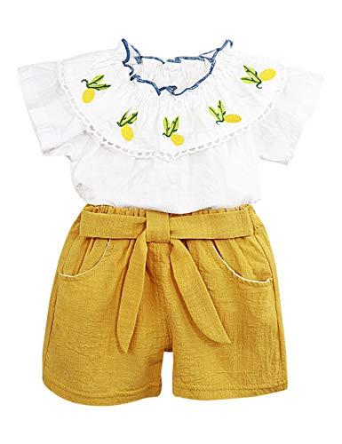Toddler Baby Girl Outfits 2Pcs Ruffle Print T-Shirt Tops and Shorts Pants Clothes Sets 4T]()