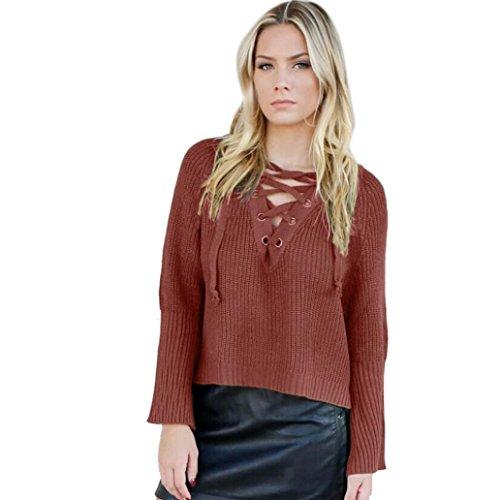Women Knitted Pullover, Franterd Loose Sweater Jumper Tops Long Sleeve Knitwear (1, Army Green)