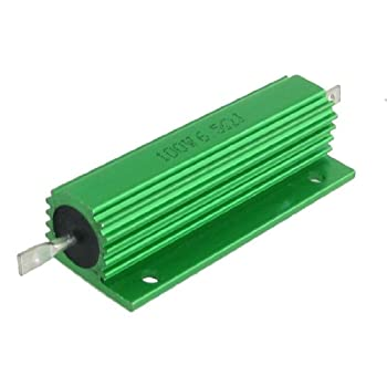 2 Pcs Chasis Mounted Green Aluminum Clad Wirewound Resistors 100W 6.5 Ohm 5%