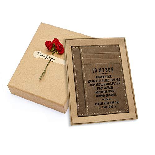 Engraved Pocket Wallet For Men Personalized Minimalist Slim Leather