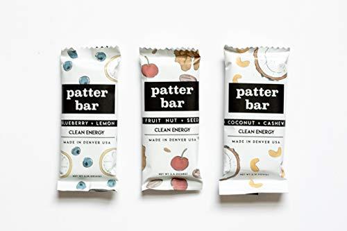 Patterbar Clean Energy Bar, Whole Food Bar, Coconut Cashew, No Added Sugar, Vegan, and Gluten Free, 2.15 Oz. Bar (12 Bars)