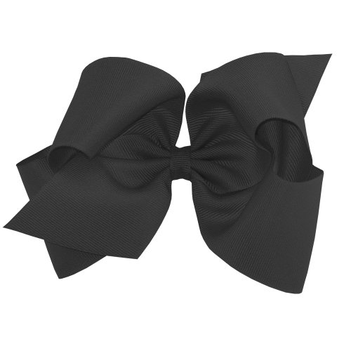 Wee Ones Baby Girls' King Grosgrain Hair Bow on a WeeStay Clip w/Plain Wrap - Black,One -