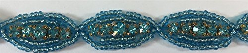 (ModaTrims Hot-Fix or Sew-On Beaded Crystal Rhinestone Trim by Yard for Bridal Belt Wedding Sash (Turquoise Crystals and Beads, Gold Cups, 1 Yard x 5/8 Inch Wide))