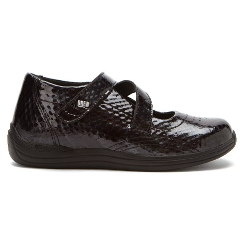 Drew Shoe Mujeres Orchid Hook And Loop Black Print