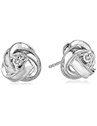 DiAura Sterling Silver Diamond-Accent Knot Stud Earrings