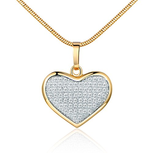 (GULICX Gold Tone Gift Clear White Full Pave Cubic Zirconia Lover Heart Necklace Pendant Chain)