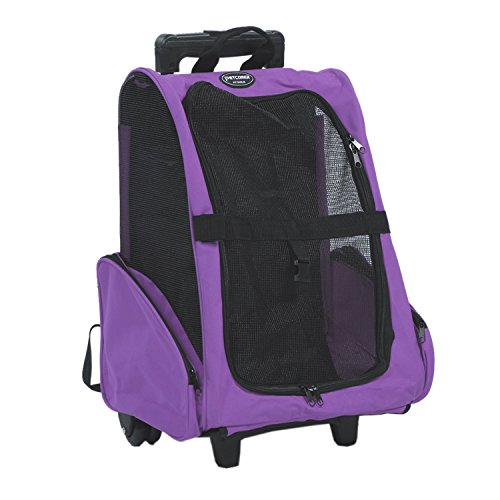 Pettom Pet Carrier Roll Around 4 in 1 Travel Tote Backpack for Dogs&Cats Airline Approved - Carriers Rolling Dog