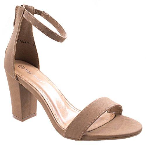 TOP Moda Women's Fashion Ankle Strap High Heel Sandal Shoes Tan 6.5