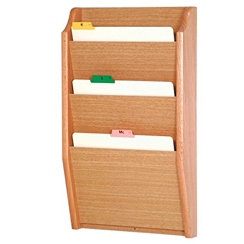 DMD Chart and File Holder, Tapered Bottom Wall Mounted, 3 Pocket, Letter Size, Light Oak