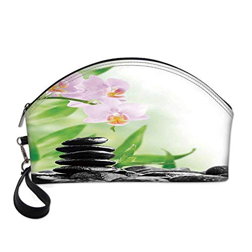 - Spa Small Portable Cosmetic Bag,Zen Basalt Stones and Orchid with Dew Peaceful Nature Theraphy Massage Meditation Decorative For Women,One size