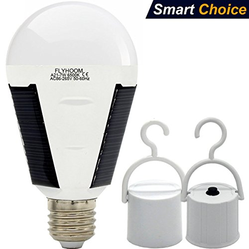 Solar LED Light Bulb Outdoor - Flyhoom Portable Rechargeable Camping Tent Lights (White 1