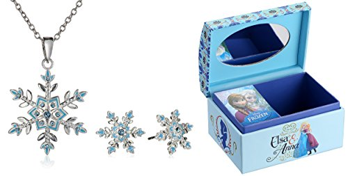 Disney-Frozen-Silver-Plated-Snowflake-Jewelry-Set-with-Mini-Treasure-Chest