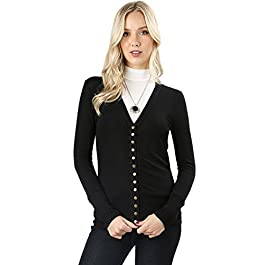 Cardigans Women Long Sleeve Cardigan Knit Snap Button Sweater Regular & Plus