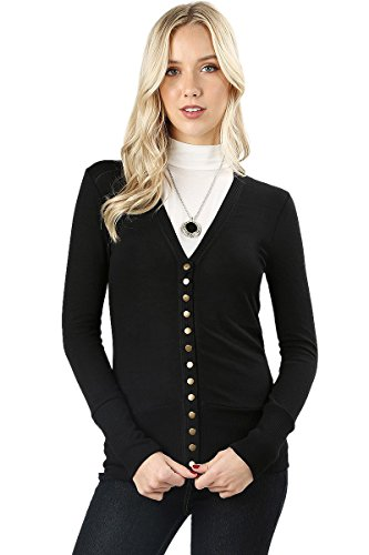 (Cardigans for Women Long Sleeve Cardigan Knit Snap Button Sweater Regular & Plus - Black (Size 1X))