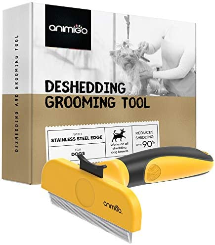 Animigo Deshedding Brush Tool For Dog & Cat Hair – Pet Grooming Comb For Small, Medium & Large Cats & Dogs, Quick Hair Remover Rake, Suitable For Puppy & Kitten Coat, Pet Care Hand Tool