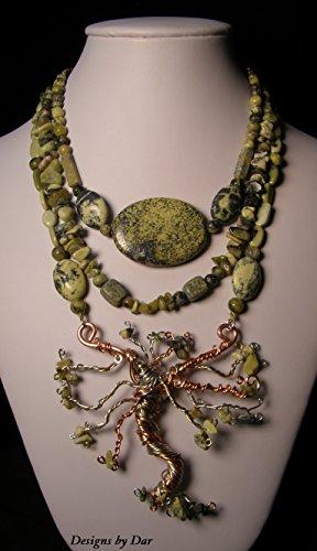 Yellow Turquoise multi strand necklace, Lg. Tree of life Pendant, bracelet, earring set