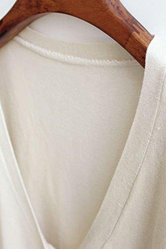 Babyonlinedress Cardigan/jersey corto de lana para mujer manga larga con botones estilo casual marfil