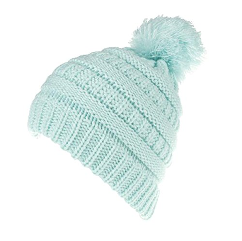 - Children Kids Baby Thick Soft Wool Knit Beanie Hat - Protect Ears to Warm - Trendy Autumn and Winter Fluff Ball Hat (Light Blue)