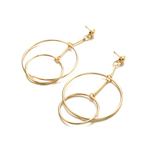 - Clearance! DDLBiz Fashion Lady Women Thin Round Big Large Dangle Hoop Loop Earrings (Gold)
