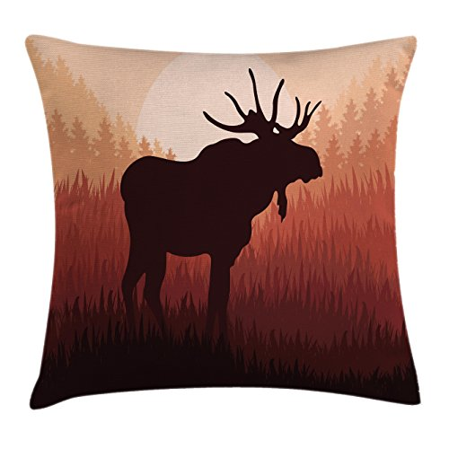 Moose Throw Pillow Cushion Cover by Ambesonne, Antlers in Wild Alaska Forest Rusty Abstract Landscape Design Deer Theme Woods Print, Decorative Square Accent Pillow Case, 18 X18 Inches, Red Brown Moose Design