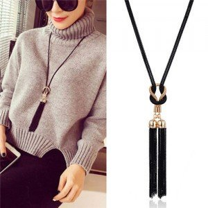 Black Chain Tassel Simple Long Style Sweater Chain Y Necklace