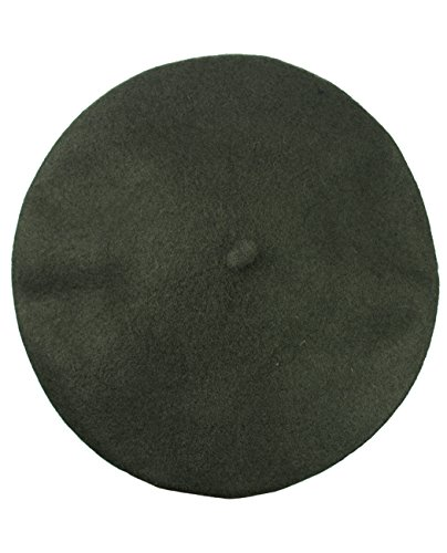 NYFASHION101 French Style Lightweight Casual Classic Solid Color Wool Beret, Olive (French Hat)