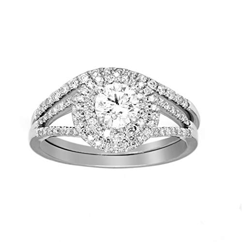 (Valentine Day's Gift 1 Carat IGI Certified Lab Grown Diamond Engagement Band Rings for Women Lab Created Diamonds Rings White 925 Real Diamond Rings for Women SI-GH Real Diamond Rings(Diamond Jewlery))