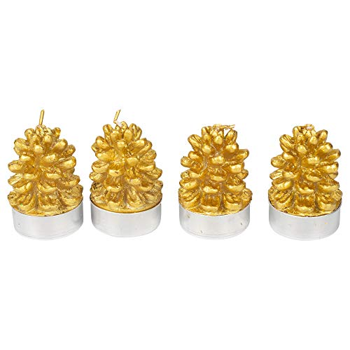 (One Hundred 80 Degrees Set of 4 Pinecone Tea Lights in Gift Box, 2.5 Inches)