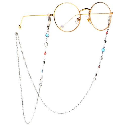 HUA JU Eyeglass Chains for Women Girl Glasses Beaded Reading Glasses Cords Sunglasses Holder Strap Lanyards Eyewear Retainer (Silver)