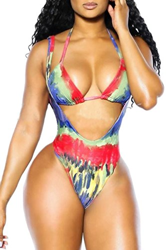 Sundray Women's Tribal Graphic Printed Halter Bandage 2PCS Bikini Sets Bathing Suit (Exotic Swimsuit)