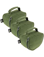 3 x Large Deluxe Zip Up Green Padded Reel Bag Cases For Carp Pike Sea Fishing with Grab/Carry Handle Holds Big Pit NGT