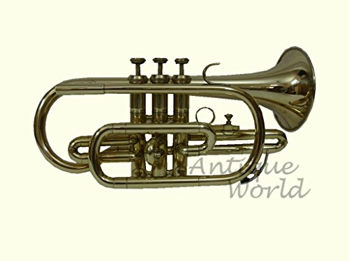 Antiques World Flat Brass Finishing Stylish Cornet Trumpet Musical Item AWUSAMI 030 by Antiques World
