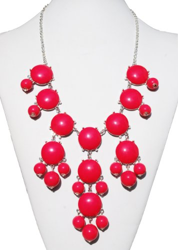 - Hot Pink Fashion Jewelry Statement Bubble Necklace with 20-24