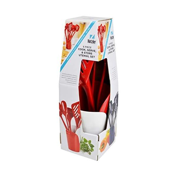 Hutzler Melamine Cooking Utensils and Crock Set, 6-pc, Red 2