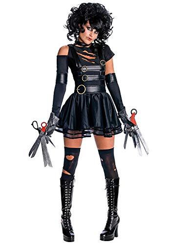 Adult Miss Scissorhands Costume,Features Dress,Gloves, Foam Scissors & Choker (X-Large, Black) -