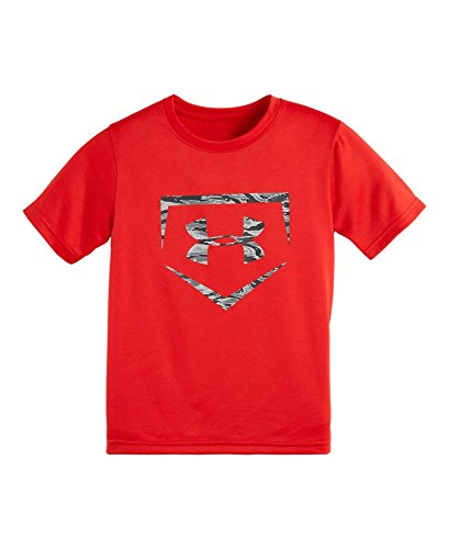 Under Armour Little Boys' Geo Stacked Block Short Sleeve, Risk Red, 6